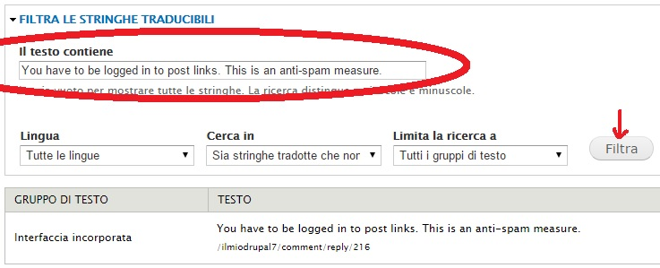 modifica del testo di errore tramite apposita interfaccia