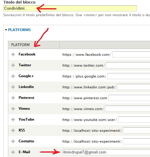 pagina di configurazione blocco social media links
